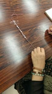 編みブレスレット 教室 パワーストーン