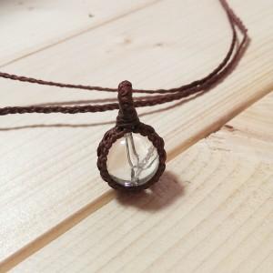水晶 編み ネックレス 手作り