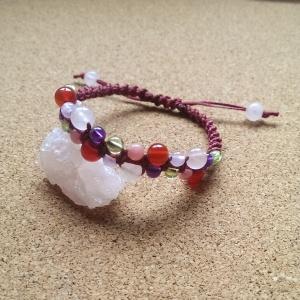 天然石 パワーストーン 編みブレス 赤