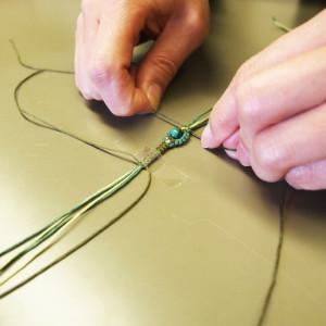 編み リング マクラメ タッチング 巻き結び