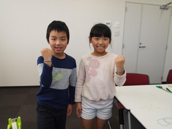 パワーストーン 編みブレスレット 教室 子供 親子