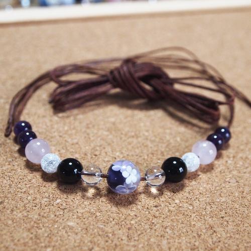 とんぼ玉花柄紫01
